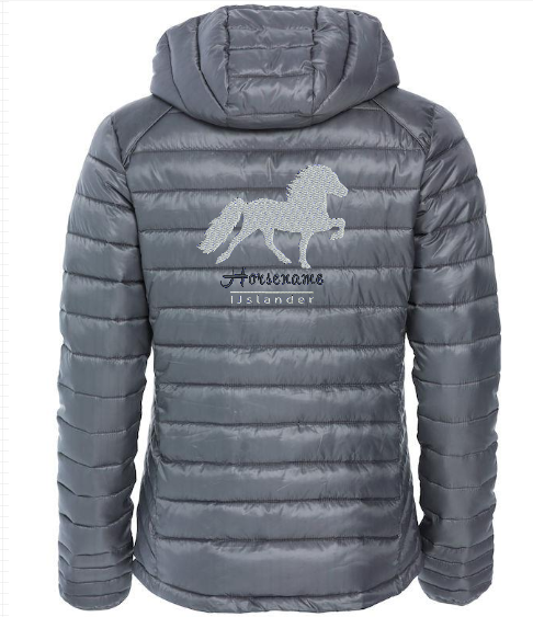 Personalised fitted quilted jacket,pistol, with logo Icelandic Horse embroidered on the back, by ZijHaven 3, borduurstudio Lemmer