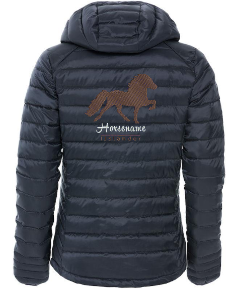 Personalised fitted quilted jacket, ladies, dark navy, with logo Icelandic Horse embroidered on the back, by ZijHaven 3, borduurstudio Lemmer