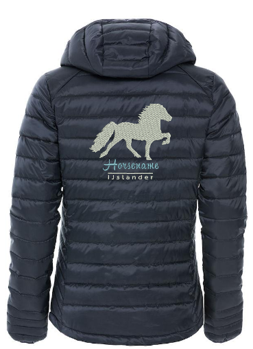Personalised fitted quilted jacket, dark navy, with logo Icelandic Horse embroidered on the back, by ZijHaven 3, borduurstudio Lemmer