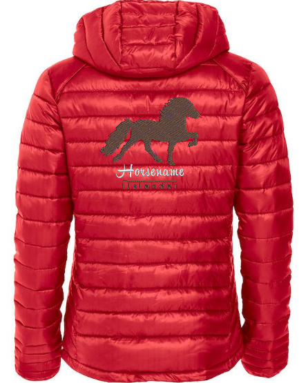 Personalised fitted quilted jacket, ladies, red, with logo Icelandic Horse embroidered on the back, by ZijHaven 3, borduurstudio Lemmer