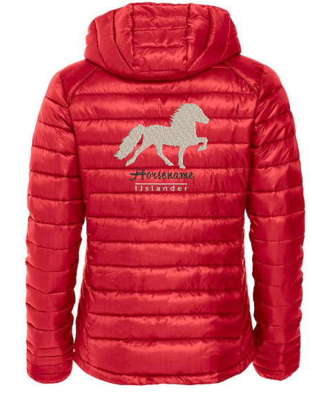 Personalised fitted quilted jacket, red, with logo Icelandic Horse embroidered on the back, by ZijHaven 3, borduurstudio Lemmer