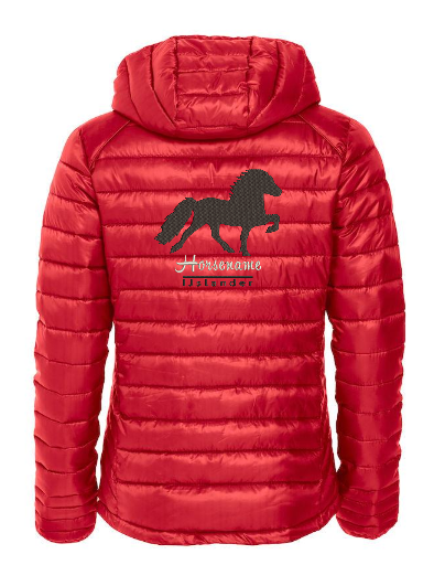 Personalised fitted quilted jacket,red, with logo Icelandic Horse embroidered on the back, by ZijHaven 3, borduurstudio Lemmer