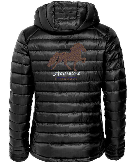 Personalised quilted fitted jacket, ladies, black, with logo Icelandic Horse embroidered on the back, by ZijHaven 3, borduurstudio Lemmer