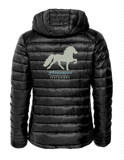 Personalised fitted quilted jacket, black, with logo Icelandic Horse embroidered on the back, by ZijHaven 3, borduurstudio Lemmer