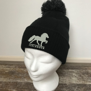 Hat with pompon, black, with logo Icelandic Horse embroidered on the front, by ZijHaven 3, borduurstudio Lemmer